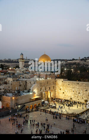 View over the Western Wall (Wailing Wall) and the Dome of the Rock Mosque, UNESCO, Jerusalem, Israel, Middle East - Stock Photo