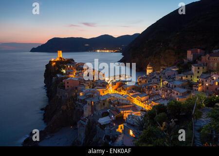 Vernazza in the evening, Cinque Terre, UNESCO World Heritage Site, Liguria, Italy, Europe - Stock Photo