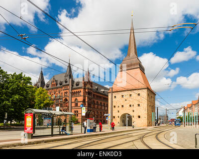 Tram stop at the Stone Gate in Steinstrasse, 'Stone Street', south of Neuer Markt, Rostock Germany. Higher Regional - Stock Photo