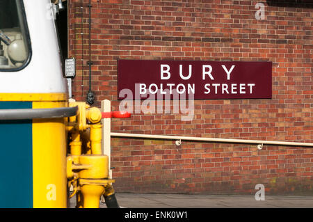 Large metal Bury Bolton Street station sign on the East Lancs preserved railway - Stock Photo