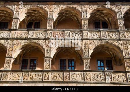 Renaissance inner court of the Plassenburg Castle, Kulmbach, Upper Franconia, Bavaria, Germany, Europe - Stock Photo