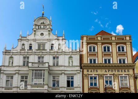Buildings on the west side of the Neuer Markt, 'New Market', in the Hanseatic city of Rostock, Germany. - Stock Photo