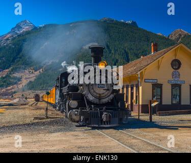 Railway Station for Durango and Silverton Narrow Gauge Railroad, Silverton, Colorado, United States of America, - Stock Photo