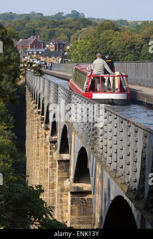 Pontcysyllte Aqueduct, built 1795 to 1805, UNESCO, and the Ellesmere Canal, Llangollen, Denbighshire, Wales, UK - Stock Photo