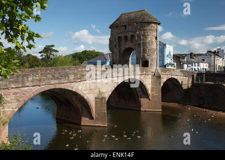 Monnow Bridge and Gate over the River Monnow, Monmouth, Monmouthshire, Wales, United Kingdom, Europe - Stock Photo
