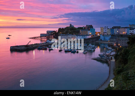 View over harbour and castle at dawn, Tenby, Carmarthen Bay, Pembrokeshire, Wales, United Kingdom, Europe - Stock Photo