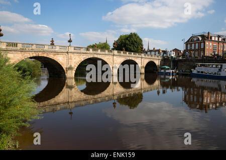 The Welsh Bridge over River Severn, Shrewsbury, Shropshire, England, United Kingdom, Europe - Stock Photo