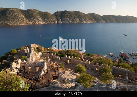 View over castle and Kekova, Simena (Kalekoy), near Kas, Lycia, Antalya, Mediterranean Coast, Southwest Turkey, - Stock Photo