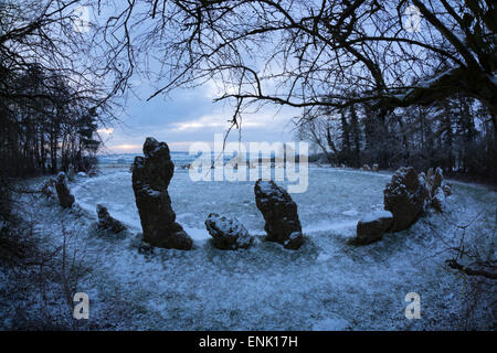 The King's Men in snow, The Rollright Stones, near Chipping Norton, Cotswolds, Oxfordshire, England, United Kingdom, - Stock Photo