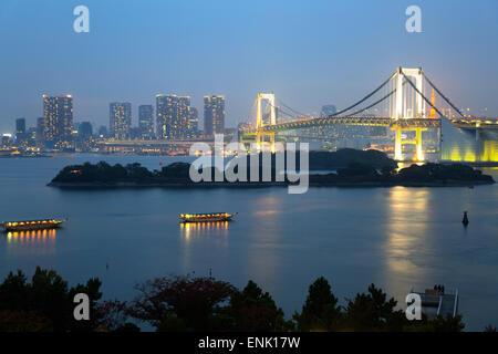 Rainbow Bridge from Odaiba, Tokyo, Japan, Asia - Stock Photo