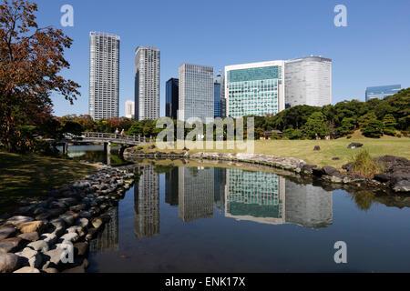 Hamarikyu Gardens, Chuo, Tokyo, Japan, Asia - Stock Photo
