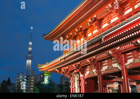 Senso-ji temple and Skytree Tower at night, Asakusa, Tokyo, Japan, Asia - Stock Photo