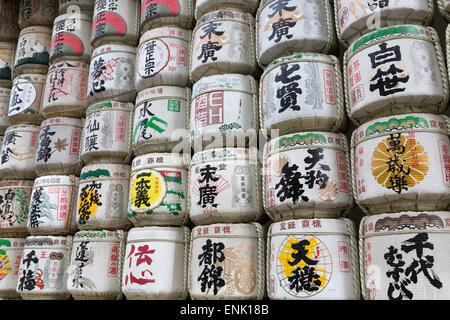 Barrels of Sake wrapped in straw at the Meiji Jingu, Tokyo, Japan, Asia - Stock Photo