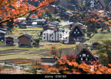 Gassho-zukuri folk houses, Ogimachi village, Shirakawa-go, near Takayama, Central Honshu, Japan, Asia - Stock Photo