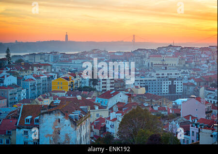 Lisbon city center at colorful sunset. Top view. Portugal - Stock Photo