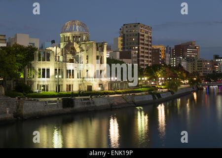 Atomic Bomb Dome at night, UNESCO World Heritage Site, Hiroshima, Western Honshu, Japan, Asia - Stock Photo