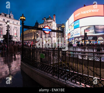 Piccadily Circus at night, London, England, United Kingdom, Europe - Stock Photo