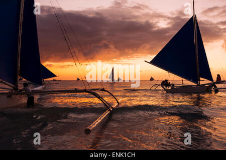 Paraw boats, White Beach, Boracay, The Visayas, Philippines, Southeast Asia, Asia Stock Photo