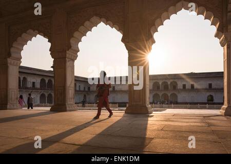 Agra Fort at sunset, UNESCO World Heritage Site, Agra, Uttar Pradesh, India, Asia - Stock Photo