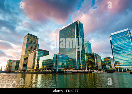 Canary Wharf at dusk, Docklands, London, England, United Kingdom, Europe - Stock Photo