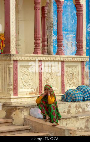 PUSHKAR,INDIA - November , Unidentified young Indian women dress their colorful and traditional scarfs in Pushkar - Stock Photo