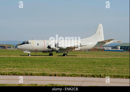 German Navy Maritime P3C Orion ASW Long Range Aircraft Serial Registration 60+08 at RAF Lossiemouth Scotland.  SCO 9728.