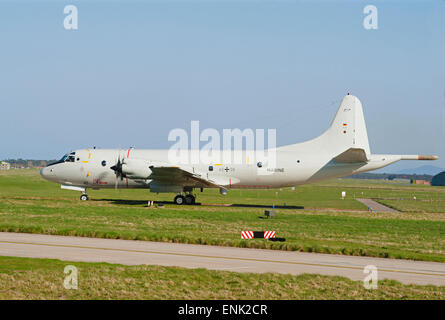 German Navy Maritime P3C Orion ASW Long Range Aircraft Serial Registration 60+08 at RAF Lossiemouth Scotland.  SCO 9729.