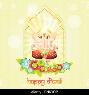 beautiful indian god ganesh on colorful background - Stock Photo