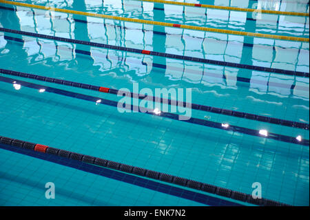 Overhead View Of Lanes Of Swimming Pool Stock Photo