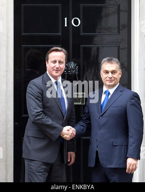 Hungarian Prime Minister Viktor Orbán meets with British Prime Minister David Cameron at Number 10 Downing Street, - Stock Photo