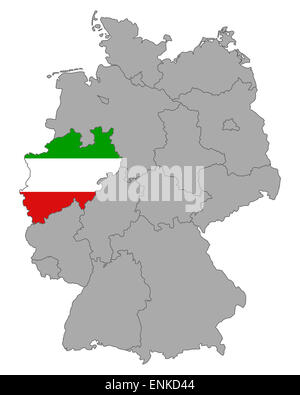 Map of Germany with flag of North Rhine-Westphalia - Stock Photo