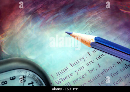 Poetry book and clock - life temporality concept - Stock Photo