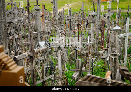 The hill of the Crosses in Lithuania, one of the most important pilgrimage sights of the region and a national monument - Stock Photo