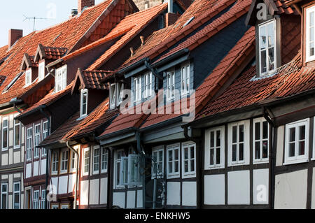 timber framed houses in old town, Hildesheim, Lower Saxony, Germany - Stock Photo