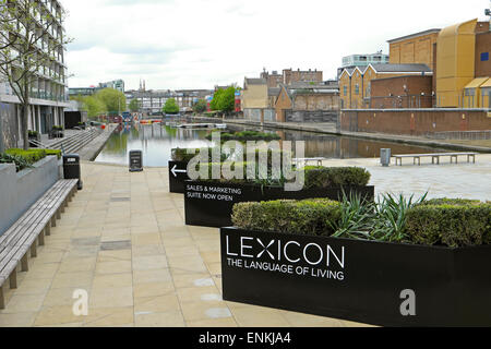 City Road Basin situated between the new Lexicon luxury apartment building and Canaletto flats London EC1 UK KATHY - Stock Photo