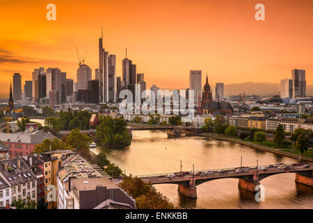 Frankurt, Germany skyline on the Main River. - Stock Photo