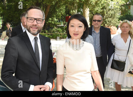 Venice, Italy. 07th May, 2015. Fleur Pellerin, French Minister of Culture and Communication, and Michael Roth, German - Stock Photo