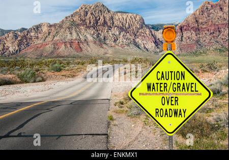 Flood Area Warning Sign - Stock Photo