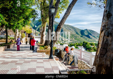 Tourists on the observation deck in Mijas - Stock Photo