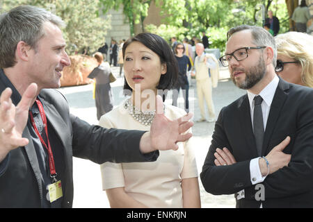 Venice, Italy. 07th May, 2015. Florian Ebner (L-R), Florian Ebner, curator of the German pavilion and director of - Stock Photo