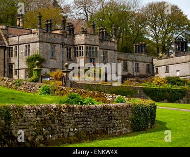 The exterior of Tissington Hall a Jacobean 17th century stately home in Tissington village Derbyshire Peak District - Stock Photo