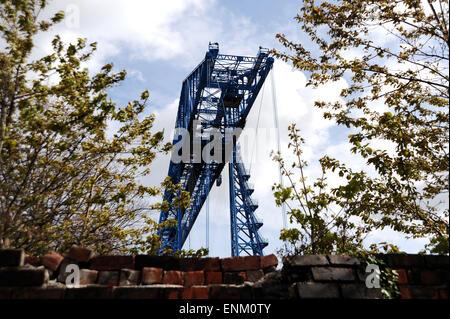 Middlesbrough Teeside UK - The Tees Transporter Bridge in North East - Stock Photo