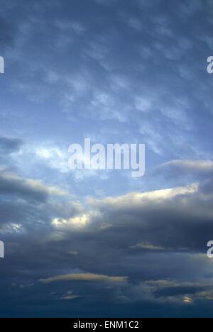 dark cloudy sky at dusk - Stock Photo