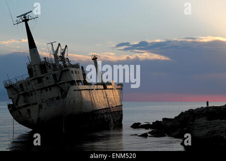 The Edro III cargo ship wreck grounded near Paphos, Cyprus - Stock Photo