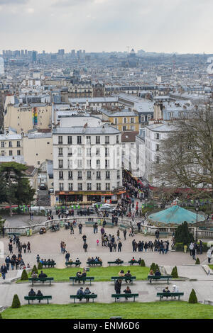 An elevated view on Paris from the Willette Public Garden under Sacre-Coeur Basilica, Montmartre District, Montparnasse - Stock Photo