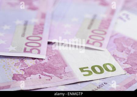 500 euro notes background closeup photo - Stock Photo