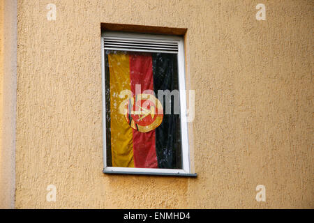 DDR-Fahne, Berlin-Treptow. - Stock Photo