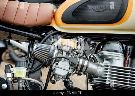 Triumph Tiger 100 Scrambler motorcycle carburetor and engine. Classic british motorcycle - Stock Photo