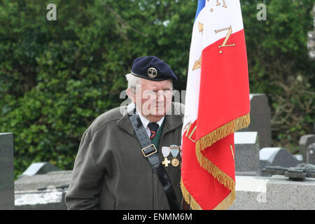 Normandy, France. 8th May, 2015. Victory in Europe Day is a national holiday and celebrated across each small town - Stock Photo