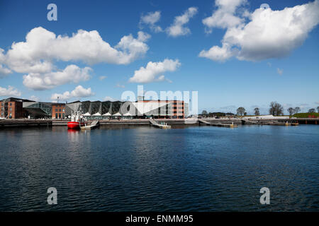 The Culture Yard and the underground Danish Maritime Museum to the right in the port of Elsinore / Helsingør, Denmark - Stock Photo